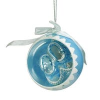 "3.5"" Noble Gems Blue Baby Boys 1st Christmas Glass Ball Ornament with Booties"