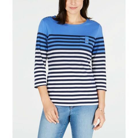 Karen Scott Women's Petite Striped Top Maliblue Size Small - Blue