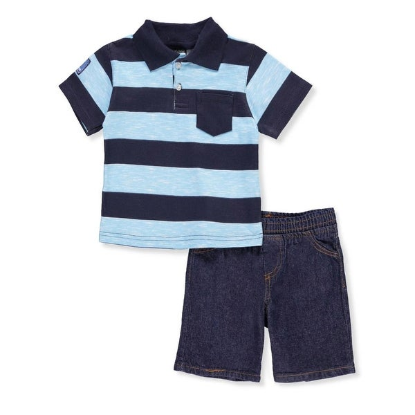cf3ab7977f30 Shop Quad Seven Boys Blue Striped Polo T-Shirt 2 Pc Denim Shorts Outfit -  Free Shipping On Orders Over  45 - Overstock - 22122825