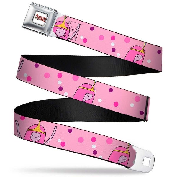 Adventure Time Logo White Full Color Princess Bubblegum Pink W Dots Webbing Seatbelt Belt