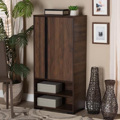 Raina Modern and Contempory 2-Door Shoe Storage Cabinet-Walnut Brown