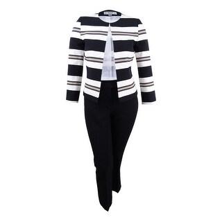 Tahari ASL Women's Plus Size Striped Flyaway Pantsuit (16W, Black/Ivory/Beige) - black/ivory/beige - 16W