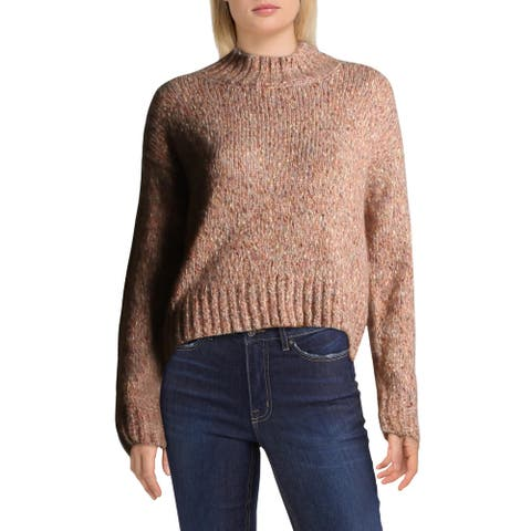 RD Style Womens Crop Sweater Wool Blend Marled - Pink Marble Mel