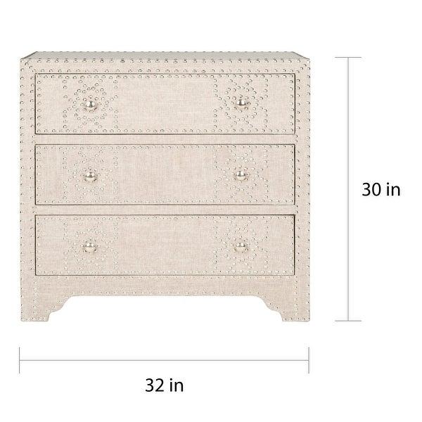 SAFAVIEH Gordy Grey 3-drawer Silver Nailhead Chest