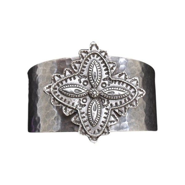 LoulaBelle Western Jewelry Womens Cuff Flower Hammered Silver LLB0948