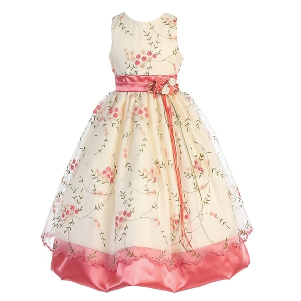 Shop Little Girls Coral Ivory Print Sash Roses Sleeveless Flower Girl Dress  4 - Free Shipping Today - Overstock - 19771727 a13ad27002a0