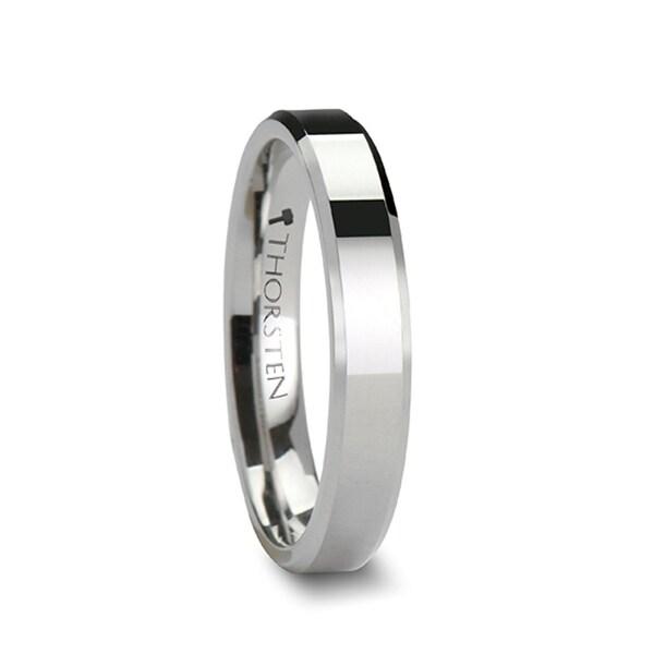 THORSTEN - LINCOLN White Tungsten Wedding Band with Beveled Edges - 4mm