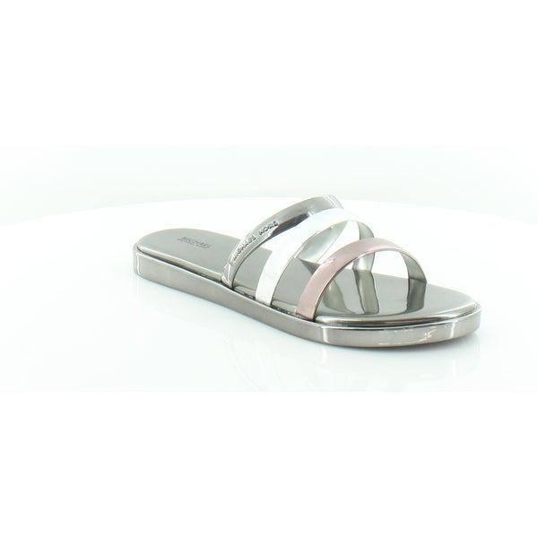 7d77eb71dffd Shop Michael Kors Keiko Slide Women s Sandals Gun Silv - Free ...