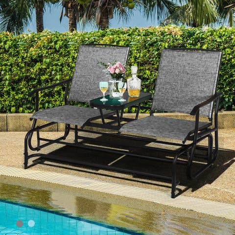 Costway 2 Person Outdoor Patio Double Glider Chair Loveseat Rocking