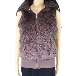 Kensie NEW Purple Womens Size Small S Full-Zip Vest Sherpa Hooded Jacket