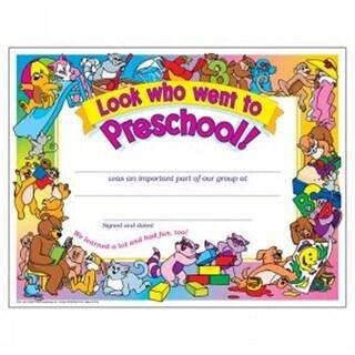 8.5 x 11 in. Look Who Went To Preschool Certificates, 30 Per