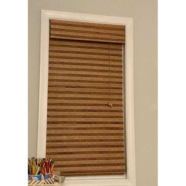 how to install blinds wood blinds shop arlo blinds corded tuscan bamboo roman shade with 54 inch height free shipping on orders over 45 overstockcom 3705856