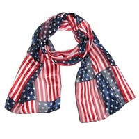 CTM® Women's Long Stars and Stripes American Flag Scarf - One size