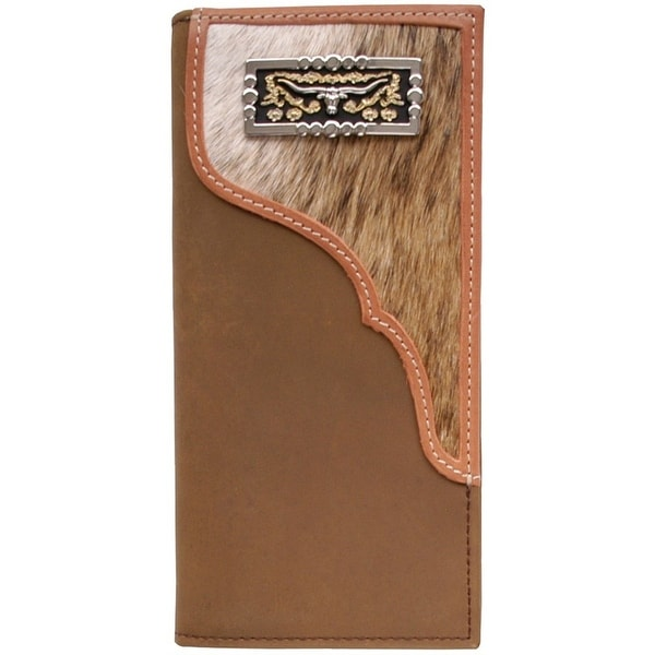 3D Western Wallet Men Leather Rodeo Checkbook Longhorn Brown W42 - One size