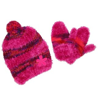 Grand Sierra Toddler's 2-4 Fuzzy Eyelash Beanie and Mitten Winter Set