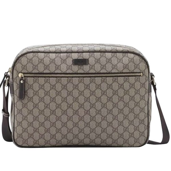 afaa4e27deca Shop Gucci Men's Zip Top Beige/Ebony GG Plus Coated Canvas Bag 211107 8588  - One size - Free Shipping Today - Overstock - 27603067
