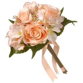 """12.2"""" Peach Rose and Hydrangea Bouquet - N/A"""