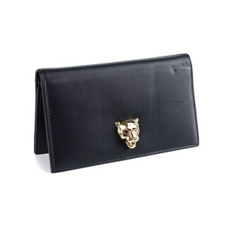 Roberto Cavalli Womens Black Leather Panther Wallet Clutch w/Chains - L