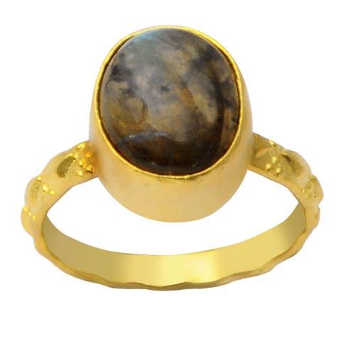 Labradorite Brass Oval Fashion Ring by Fashionablez