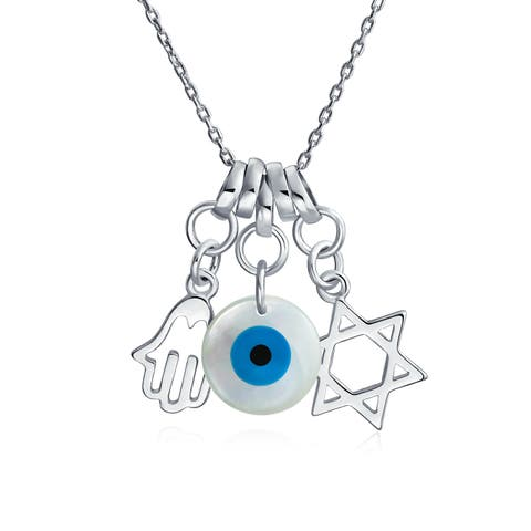 Star of David Hamsa Hand of God Evil Eye Multi Charm Protection Amulet Pendant Necklace For Women 925 Sterling Silver