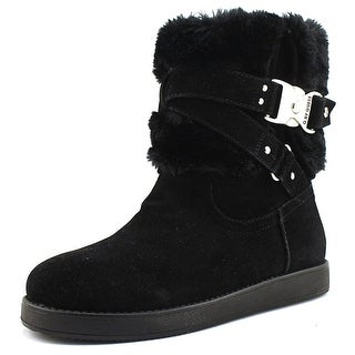 G By Guess Ashlee  Women  Round Toe Canvas Black Winter Boot