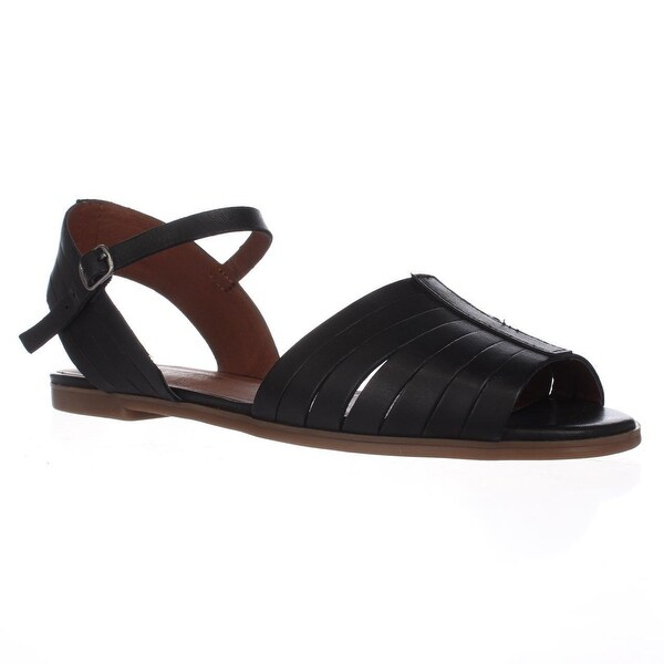 Lucky Brand Channing Flat Peep Toe Sandals, Black