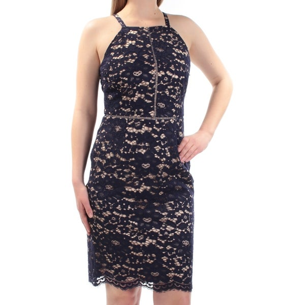 Shop VINCE CAMUTO  148 Womens 1042 Navy Lace Square Neck Sheath Cocktail  Dress 6 B+B - Free Shipping On Orders Over  45 - Overstock.com - 22432514 225dacdb49d7