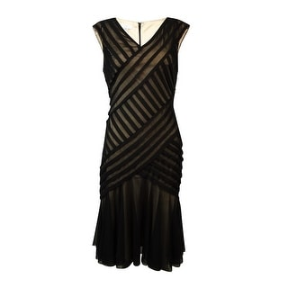 London Times Women's Sheer Asymmetrical Stripe Flare Dress