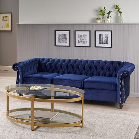 Parksley Tufted Velvet Chesterfield Sofa by Christopher Knight Home