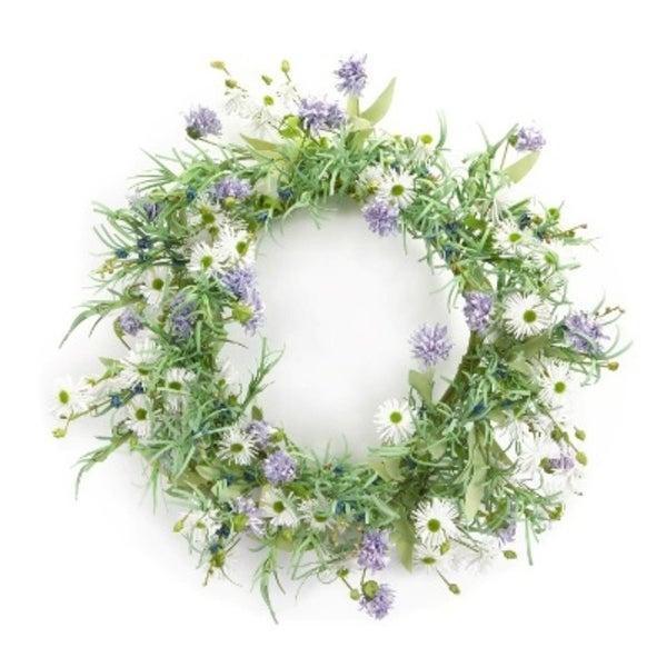 "Pack of 2 Eva Artificial Purple and White Wild Flowers Decorative Wreaths 24""-Unlit"