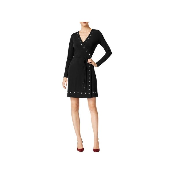 1c46667d65c Shop MICHAEL Michael Kors Womens Petites Wrap Dress Studded Side Tie - Free  Shipping Today - Overstock - 21957176