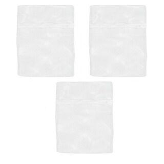 Zipper Lingerie Delicate Clothes Mesh Wash Bag Home Household Net Washing Laundry Bag White 3 Pcs