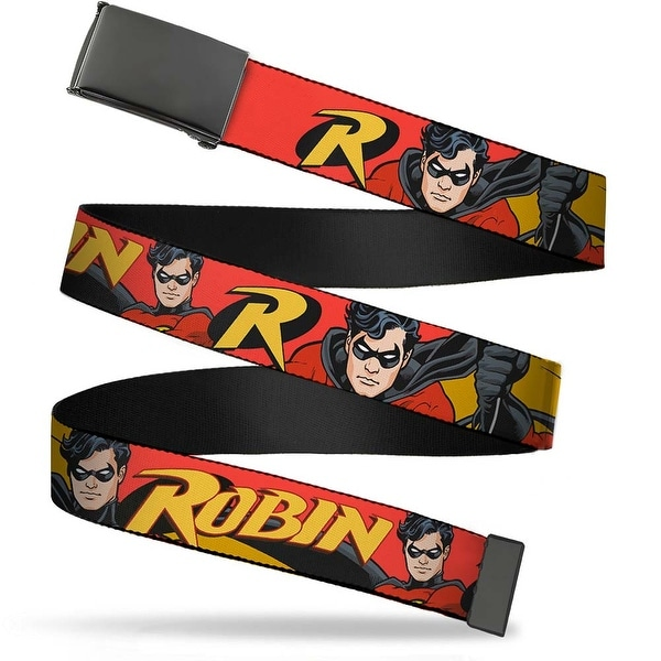 Blank Black Buckle Robin Red Black Poses Red Webbing Web Belt