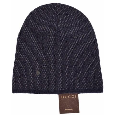 Gucci 352350 Men's Blue Beige Wool Cashmere Beanie Ski Winter Hat MEDIUM