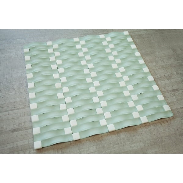 TileGen. 3D Bridge Random Sized Mixed Tile in Mint Matt Finish Wall Tile (6 sheets/6.36sqft.)