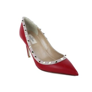 Valentino Womens Red Leather Rockstuds Pumps