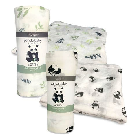 Panda Baby Bamboo Muslin Swaddle Multi 2-pk