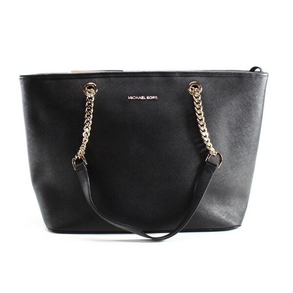 ce4f78c55c7 Shop Michael Kors NEW Black Saffiano Jet Set Chain Zip Tote Bag ...
