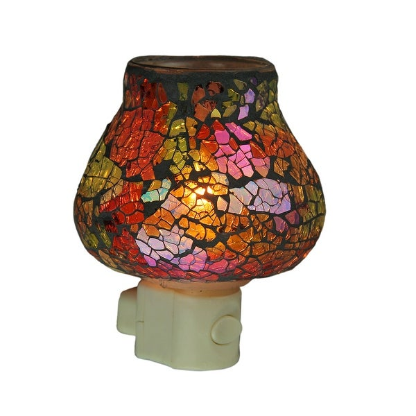 Colorful Mosaic Glass Crackle Finish Plug In Night Light - Multicolored - 4.5 X 3.75 X 3.5 inches