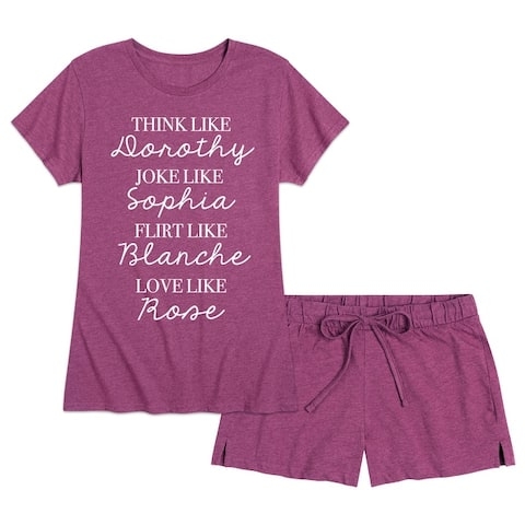 G Girls List - Women's Pajama Shorts Set - Sangria