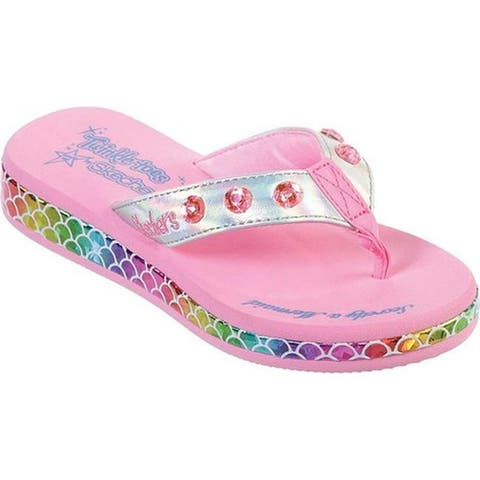bcaa44e8f4 Skechers Girls' Twinkle Toes Sunshines Mermaid Dreams Thong Sandal  Silver/Multi
