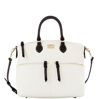 Dooney & Bourke Dillen Double Pocket Satchel (Introduced by Dooney & Bourke at $288 in Dec 2012) - White Black
