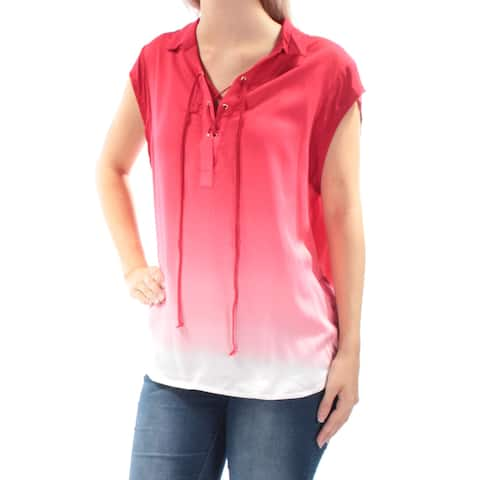 TOMMY HILFIGER Womens Red Tie Ombre Cap Sleeve Collared Tunic Top Size: XL