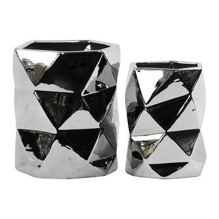 Urban Trends Ceramic Hexagonal Vase Set of Two Polished Chrome Finish Silver