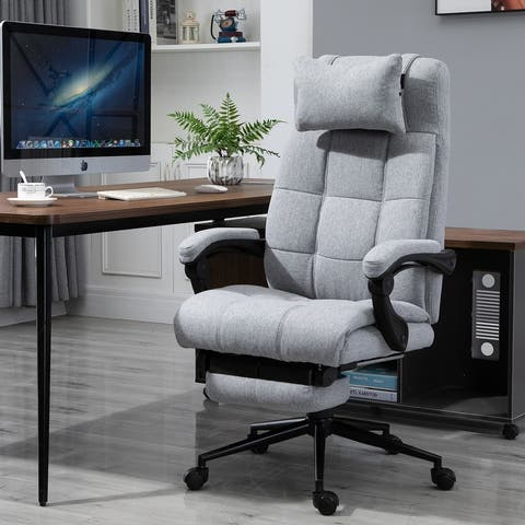 Vinsetto Executive Linen Fabric Home Office Chair with Retractable Footrest, Headrest, and Lumbar Support