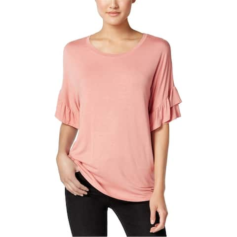 Jamie & Layla Womens Ruffled Sleeve Basic T-Shirt
