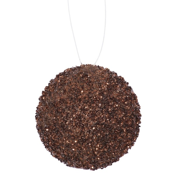"""4ct Chocolate Brown Sequin and Glitter Drenched Christmas Ball Ornaments 4"""" (100mm)"""