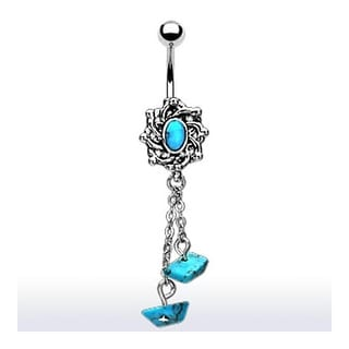 Turquoise Embedded Charm with Dangle Turquoise Beads Navel Belly Button Ring