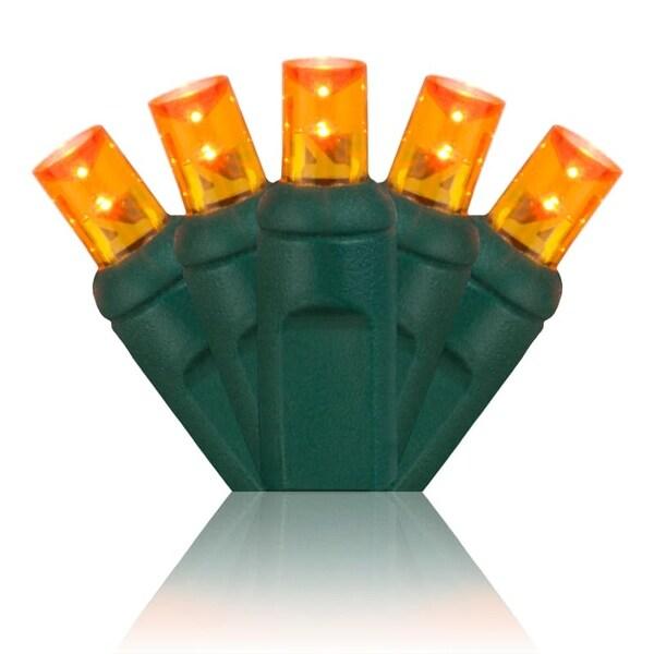 Wintergreen Lighting 20357 70 Bulb 5mm Amber / Orange LED Christmas Lights