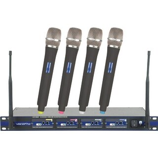 Professional 4-Channel Uhf Wireless Microphone System W/4 Handheld Mics A, B, C, D Frequency Set